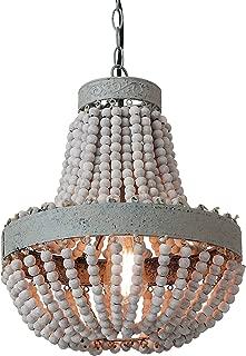 Anmytek Wood Beaded Chandelier Pendant Light Gray White Finishing Kitchen Island Lighting Retro Vintage Rustic Beads Ceiling Lamp Light Fixtures 1-Light