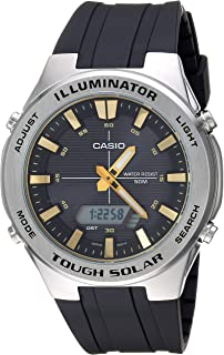 Men's Tough Solar Stainless Steel Quartz Watch with Polyurethane Strap, Black, 24.5 (Model: AMW-S850-1AVCF)