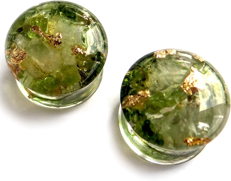 ETERNIADA Peridot Plugs Citrine Plugs gauges Resin Earrings August Birthstone Jewelry November Birthstone Gift for him Stone Plugs