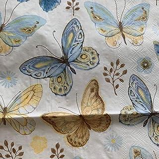 HXQCZ Decoupage wedding birthday party Napkin paper elegant tissue blue gold butterfly vintage beautiful serviettes square...