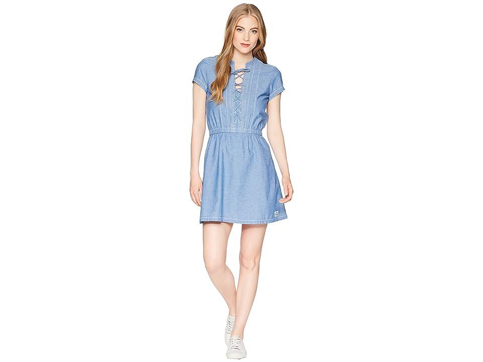 U.S. POLO ASSN. Cross and Pleat Chambray Dress (Blue Chambray) Women