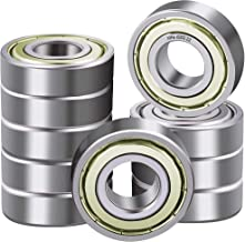 XiKe 10 Pcs 6202ZZ Double Metal Seal Bearings 15x35x11mm, Pre-Lubricated and Stable Performance and Cost Effective, Deep Groove Ball Bearings.