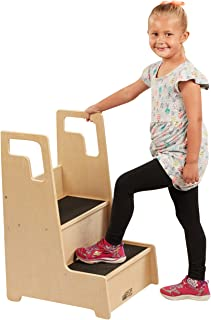 ECR4Kids Reach-Up Step Stool with Support Handles and Non-Slip, Two Step Counter Height Hardwood Stepping Stool for Kids a...