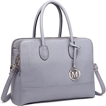 Miss LuLu Aktentasche Handtasche Laptoptasche Arbeitstasche Schultertasche Messenger Bag Retro Elegant Damen (LT1726-Grau)