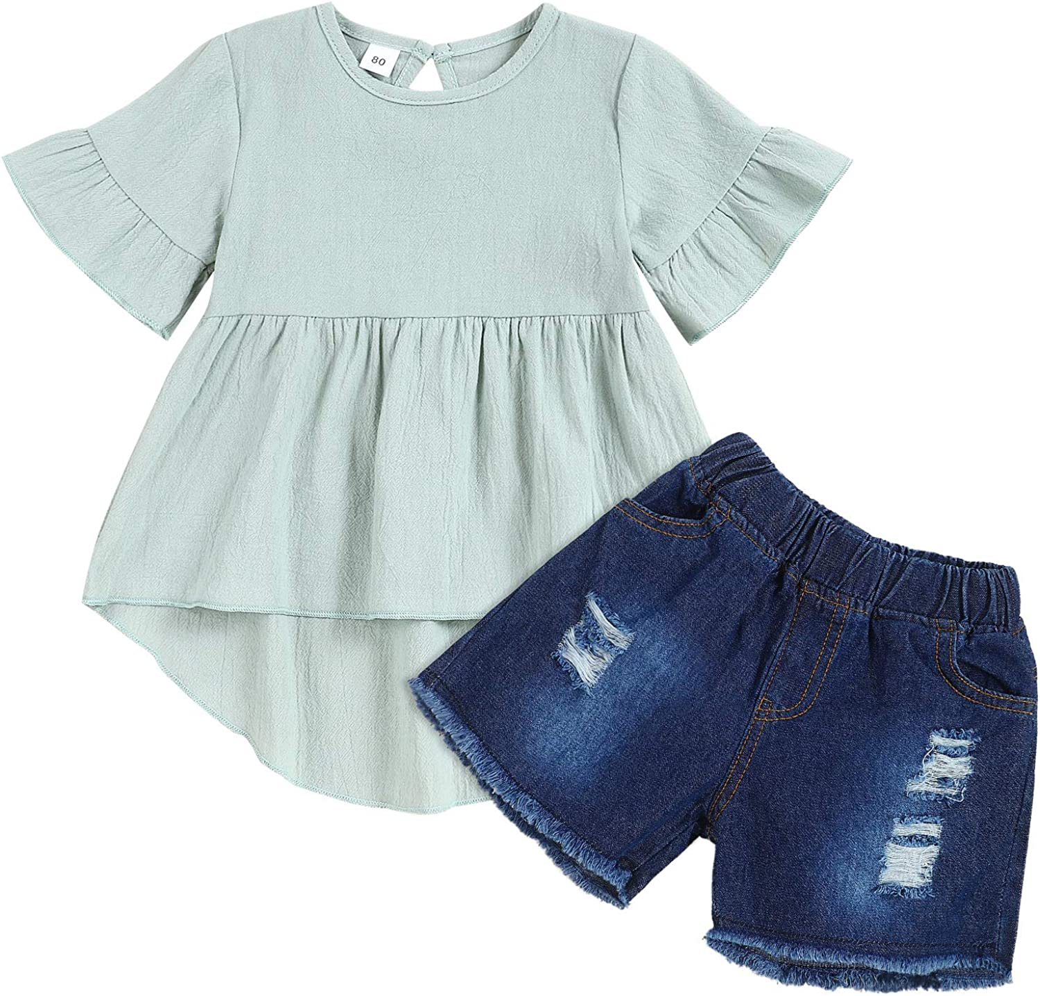 Toddler Baby Girl Clothes Cotton Linen Dress Top Short Ripped Jeans 2pcs Girl Summer Outfit Sets Green