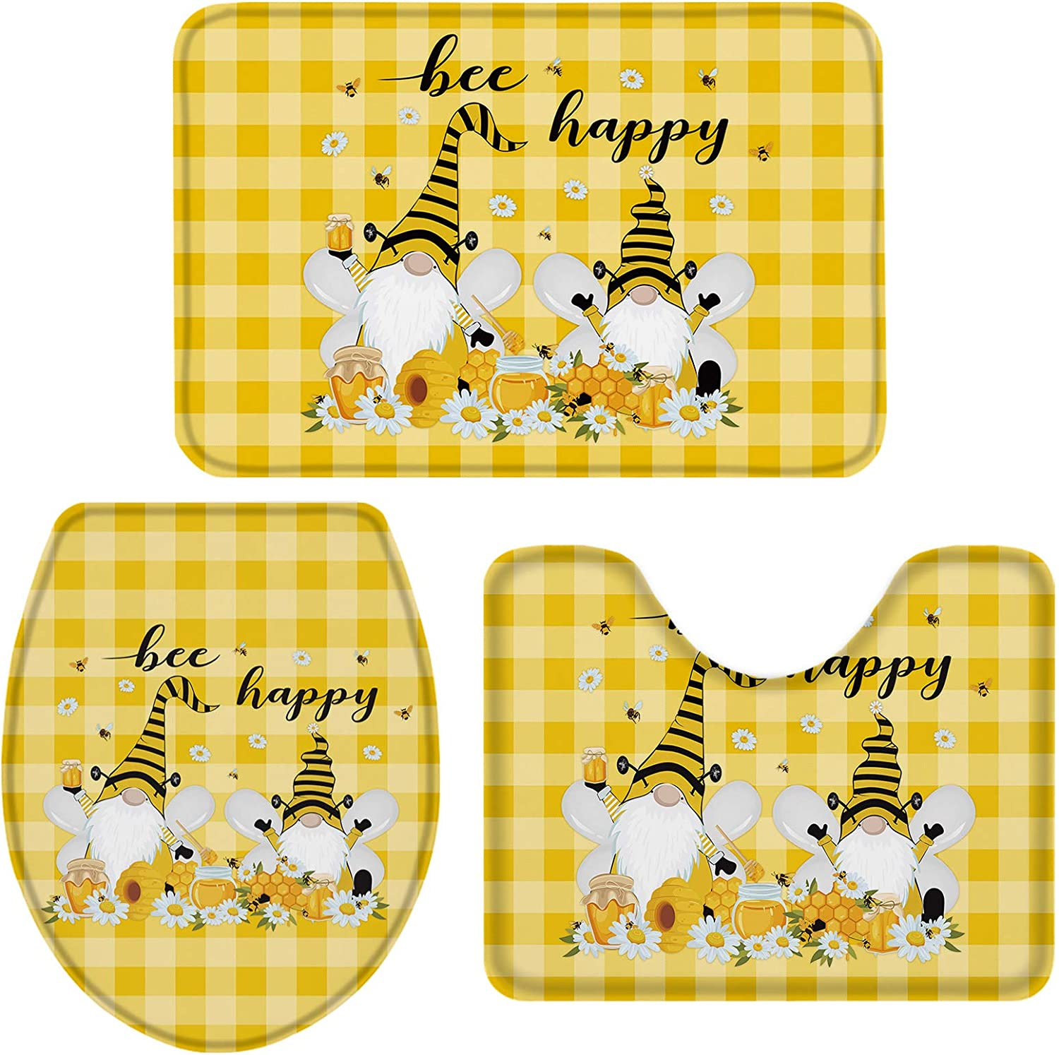 Honey Gnomes Daisy Bee 3 Brand Cheap Sale Venue Pieces Bath Quantity limited and Rugs Non Mats Slip Set