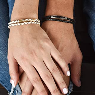 Handmade Black and White Leather Bracelet For Couples Set With Tube Pendant By Galis Jewelry - His and Hers Bracelet - Matching Bracelet - Set For Two