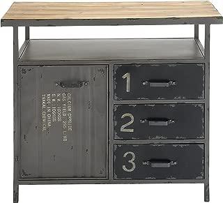 "Deco 79 Industrial Repurposed Metal Utility Cabinet with Storage & Wood Tabletop, Industrial Furniture Storage Cabinet, Wood & Metal Cabinet | 36"" x 32"""
