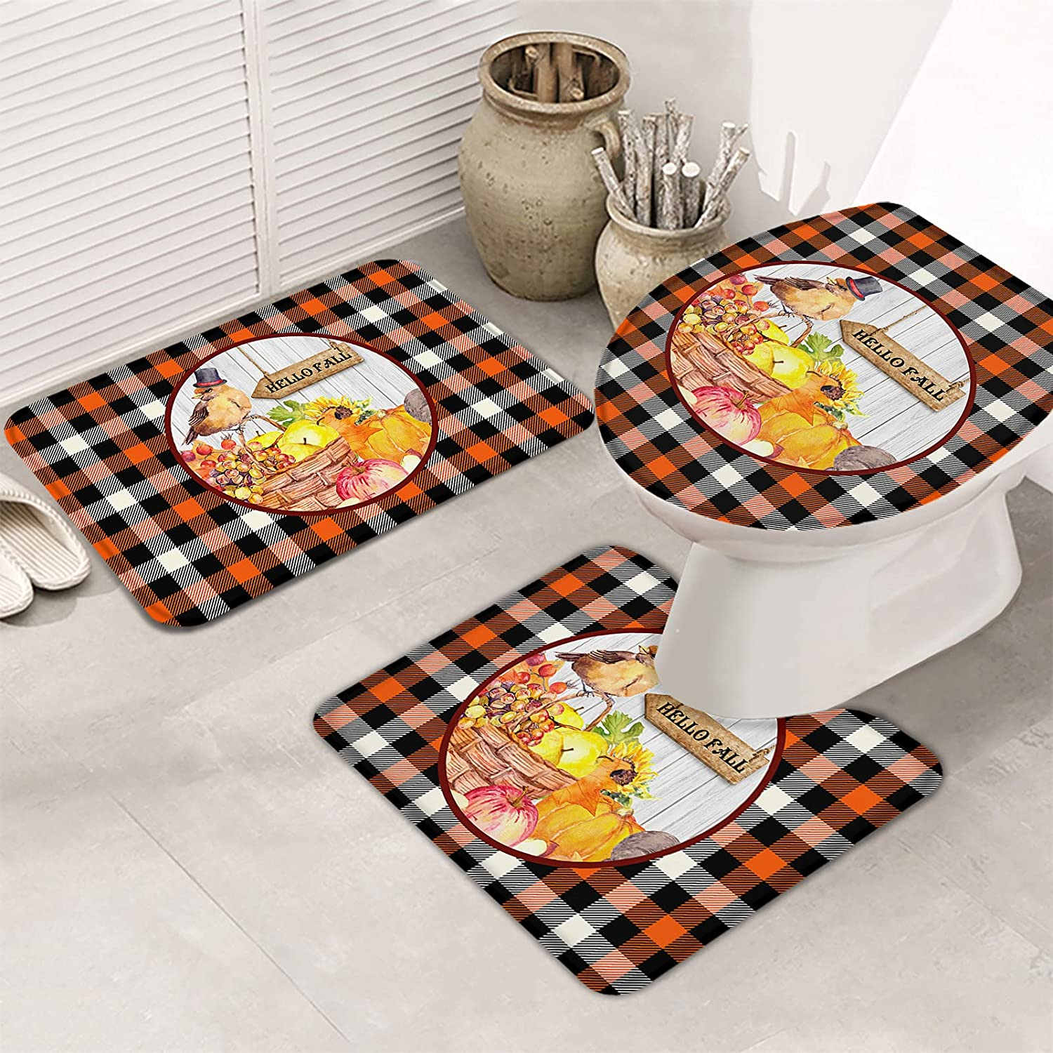3 Piece Set Bathroom Rugs for Red Farmhouse Popular shop is the lowest price challenge Bu Fruit Bird Retro Ranking TOP20