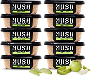 MUSH Overnight Oats Healthy Breakfast | Gluten-Free, Non-GMO, Dairy Free, High-Fiber, Protein Rich, No Added Sugar | 10 Pack Apple Pie Oatmeal Cups