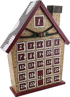 "ThreeStar Log Cabin Advent Calendar Countdown to Christmas Holiday Season Hand Painted 15"" X 12"""