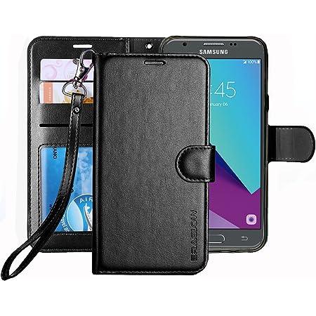 Galaxy J3 Emerge Case / J3 Prime /J3 Mission / J3 Eclipse/Sol 2 / Amp Prime 2 Case, ERAGLOW PU Leather Wallet Flip Protective Cover with Card Slots & Kickstand for Samsung Galaxy J3 2017 (Black)