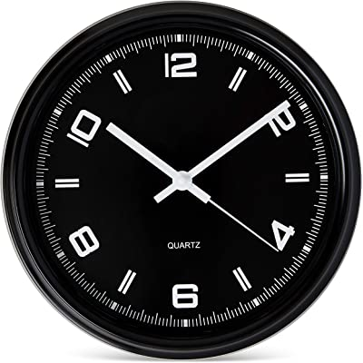 Bernhard Products Black Wall Clock Silent Non Ticking 11 Inch Battery Operated Quartz Sporty Watch Style for Bedroom/Gym/Office/Home/Kitchen/Classroom Gift, Sweep Movement
