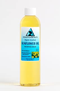 Sunflower Oil Organic Unrefined by H&B OILS CENTER Raw Virgin Cold Pressed Premium Quality Natural Pure 8 oz