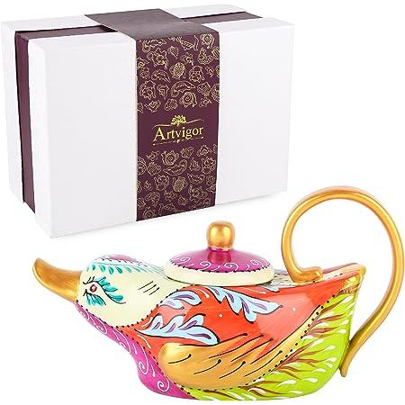 Artvigor Porcelain Hand Painted Elephant Teapot Crafts 800ml Christmas Gift Box