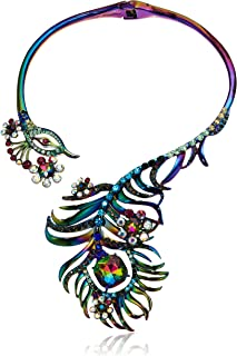 Betsey Johnson Critters Peacock Statement Hinge Collar Necklace, Multi, One Size