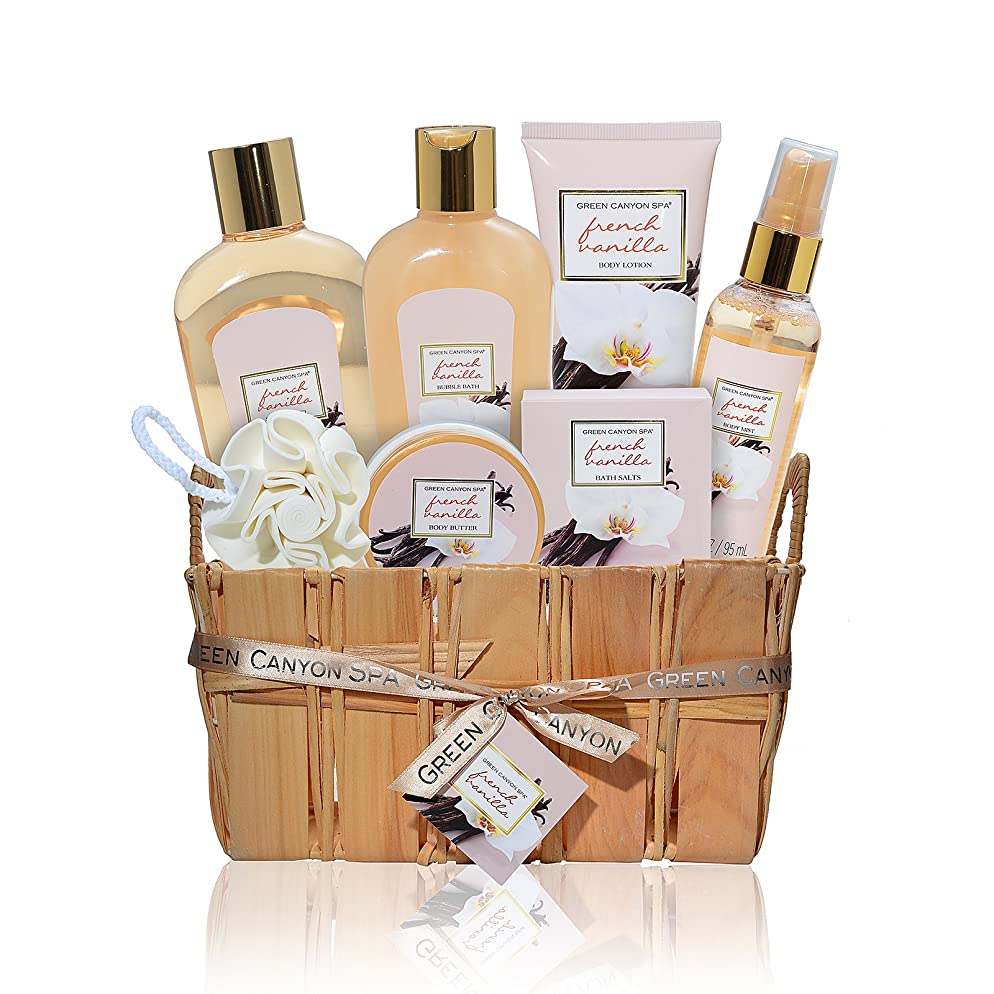 Mothers day gifts, Relaxing Spa Gift Baskets for Women, Luxury French Vanilla 8 pc At Home Spa Set, Best Bath and Body Gift Ideas from Daughter, Great Pampering, Wedding, Anniversary, Condolence