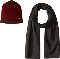 Tipped Contrast Solid Hat and Scarf Set