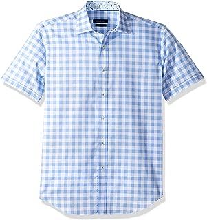 Bugatchi Men's Fitted Short Sleeve Point Collar Checks Pattern Sport Shirt
