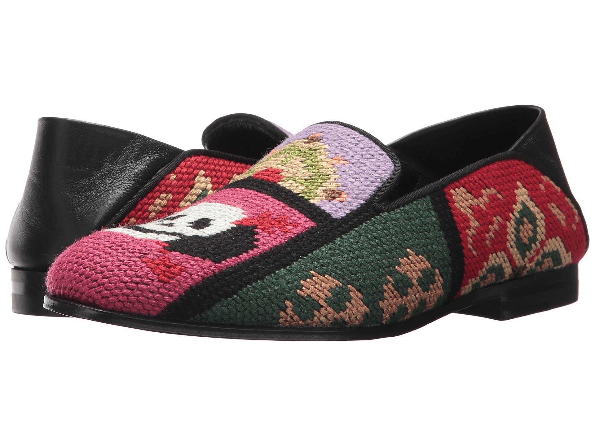 Tapestry Patchwork Slipper, Pink Black