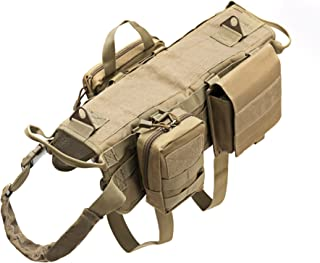 Petvins Tactical Dog Molle Vest Harness K9 Adjustable Outdoor Training Service Camouflage Harness with 3 Detachable Pouches