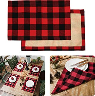 Christmas Placemats For Dining Table Red Black Buffalo Check Placemats Set Of 6 Plaid Placemats Set Farmhouse Christmas De...