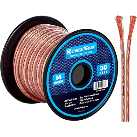 InstallGear 14 Gauge AWG 30ft Speaker Wire Cable White