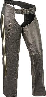 Milwaukee Leather Wo Vintage Slate Chaps W/ Grey Racing Stripes