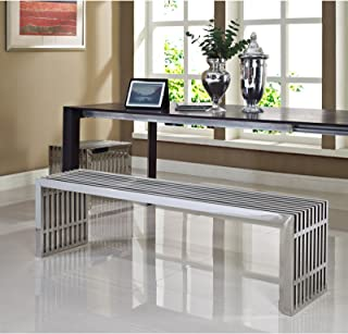 Modway Gridiron Stainless Steel Large and Small 2-Piece Bench Set