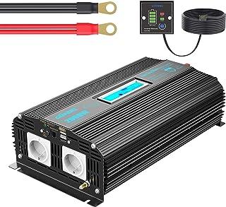Reiner Sinus Wechselrichter 2000W DC 12V auf 230V AC Spannungswandler Power Inverter mit Fernbedienung Bildschirm LCD 2xAC Steckdosen und 2x2.4A USB Anschlüssen für Wohnmobil [24 Monaten Garantie]
