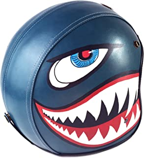 PURROMM Vintage 3/4 Half Helmet-Vintage Harley Helmet Handmade Leather Half Helmet Matte Shark DOT,XXXL