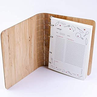 Wooden Blank Recipe Book Binder - Personalized Recipe Notebook - Family Cookbook, Journal, Custom Sketchbook To Write In O...