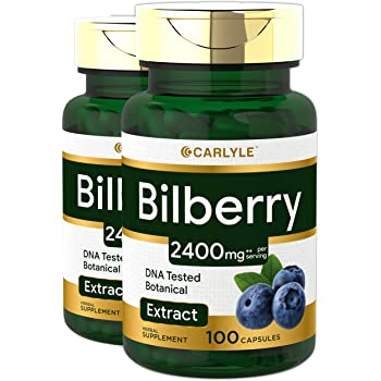 Bilberry Extract Capsules   2400mg   200 Count  Non-GMO, Gluten Free Fruit Supplement   by Carlyle