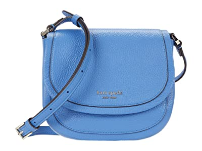 Kate Spade New York Roulette Small Saddle Bag (Deep Cornflower) Handbags