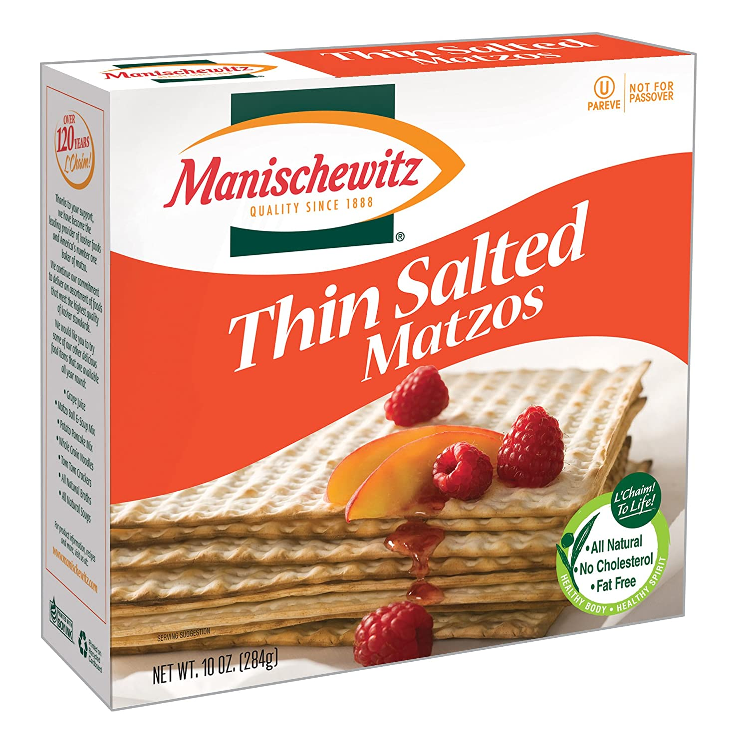 MANISCHEWITZ Thin New products world's Quantity limited highest quality popular Salted Matzo 10-Ounce Pack 8 of Boxes