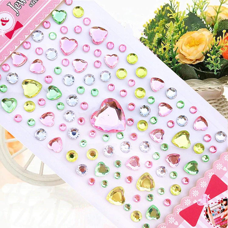 10 pcs - Multicolor GOOGIT Decorazioni Adesive Cristalli e Gemme 3D Colorate per Feste Bambini Fai Da Te
