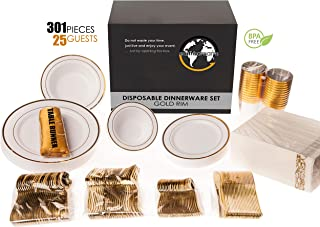 Earth's Dreams 301 Piece Gold Dinnerware Set Disposable [25 Guest] Gold Plastic Plates for Parties, Disposable Wedding Dinnerware: 4 types of Gold Rimmed Plates+Bowls+Napkins+Cutlery+Cups+Table Runner