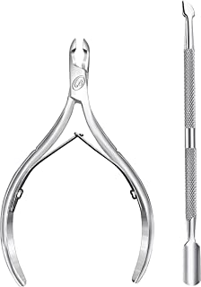 Cuticle Nipper with Cuticle Pusher- Professional Grade Stainless Steel Cuticle Remover and Cutter - Durable Manicure and Pedicure Tool - Beauty Tool Perfect for Fingernails and Toenails (Silver)