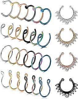 LOYALLOOK 20G 28PCS Stainless Steel Fake Septum Ring Nose Hoop Piercing Clicker Ring Septum Retainer Set Body Jewelry Piercing