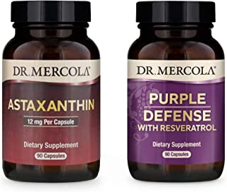 Dr. Mercola Astaxanthin and Purple Defense Bundle, Pack of 2 Bottles (90 Servings Each), Supports Cardiovascular, Immune, ...