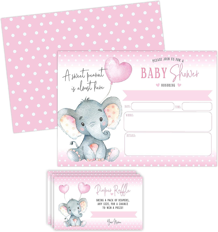 Elephant Girl Baby Shower Invitations, Peanut Baby Shower Invites with Diaper Raffles Cards, Sprinkle, 20 Invites Including Envelopes