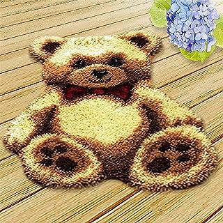 Lanrui Kit Crochet de loquet, Carton Bricolage Kits de Fils Crochets Charmant Ours Motif de Broderie Tapis pour Adultes Ac...