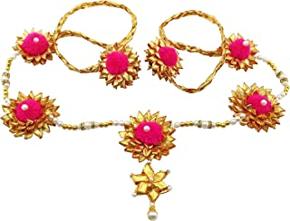 BLENT#63 Pink Gota Patti Flower Jewellery Kamarband/Waistband/Belly Chain for Women/Kids/Girls/Bride/Bridal Haldi/Mehandi...