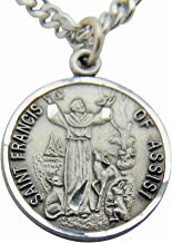 Saint Francis Pewter Medal Pendant 3/4 Inch on 24 Inch Stainless Steel Chain Gift