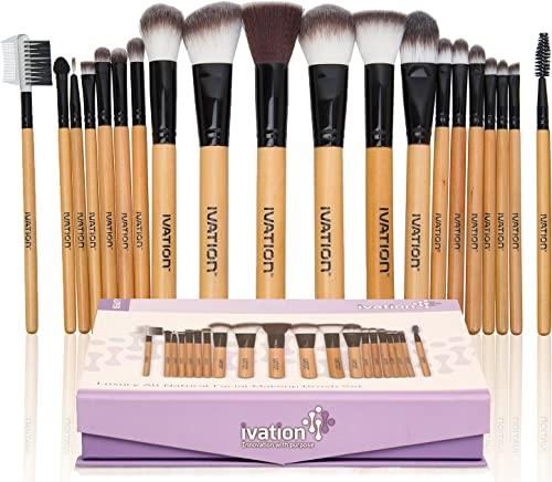2021 Ivation Cosmetics wholesale Natural Facial Makeup Brush Set 2021 with Leather Pouch (20 Pieces) outlet sale