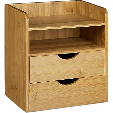 Relaxdays 10020323 Organiseur de bureau en bambou casier de rangement 2 tiroirs porte-document corbeille à courrier ordre ranger distributeur de bureau en bois, nature 21 x 20 x 13 cm