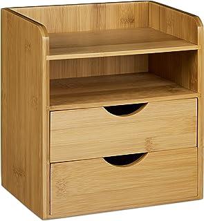 Relaxdays 10020323 Organiseur de bureau en bambou casier de rangement 2 tiroirs porte-document corbeille à courrier ordre ...