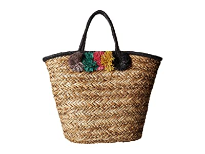 San Diego Hat Company BSB1714 Pom Seagrass Tote (Natural) Tote Handbags