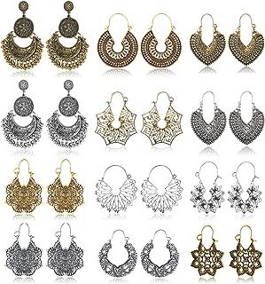 Subiceto 12 Pairs Vintage Mandala Flower Gypsy Drop Dangle Earrings for Women Boho Retro Tribal Hollow Earrings Jewelry Set