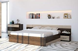 MG Lit double avec tables de chevet et commode Canterbury Sonoma Lesí 160 x 200 cm
